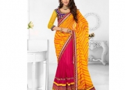 Triveni Rani Orange & Blue Colored Designer Lahenga Saree