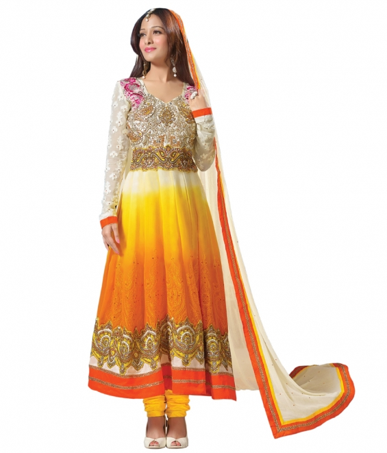 Graceful white & yellow anarkali salwar kameez(diwalispecial3003)