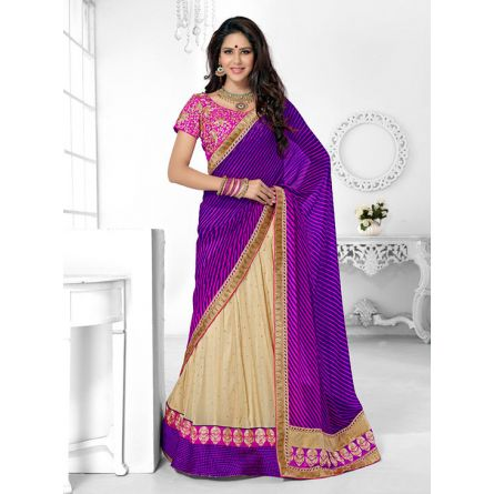 Triveni purple & off white colored designer lahenga saree