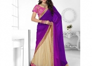 Triveni Purple & Off White Colored Designer Lahenga Saree