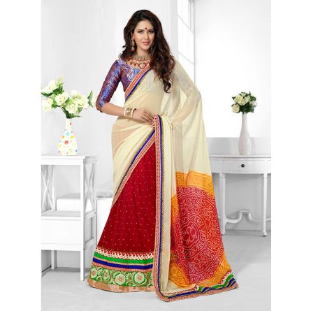 Triveni red & cream colored designer lahenga saree