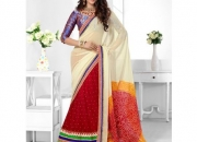 Triveni Red & Cream Colored Designer Lahenga Saree