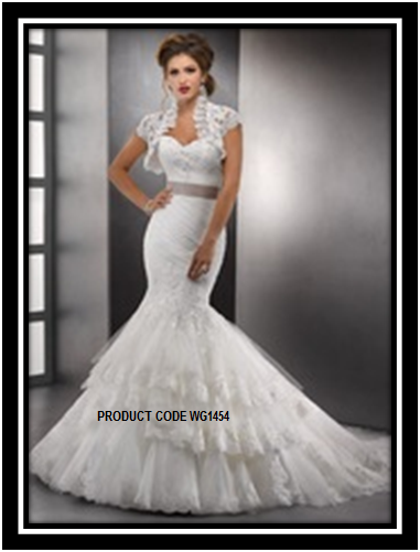 Designer christian white wedding mermaid gown