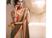 Royal Brown & Orange Colored Designer Saree