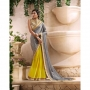 Royal Gray & Yellow Colored Designer Saree
