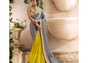 Royal Gray & Yellow Colored Designer Saree