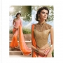 Royal Pink & Orange Colored Designer Saree