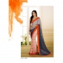 Silk Rought Orange & Gray Colored Georgette Printed Saree