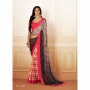 Silk Rought Red & Brown Colored Georgette Printed Saree