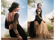 Royal Tan & Black Colored Designer Saree