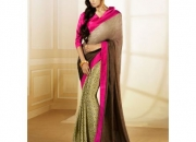 Silk Rought Rani & Brown Colored Georgette Printed Saree