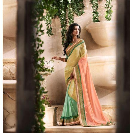 Royal dark sea green cream & light pink colored designer saree