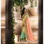 Royal Dark Sea Green Cream & Light Pink Colored Designer Saree