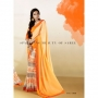 Silk Rought Orange & Light Orange Colored Georgette Printed Saree