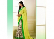 Silk Rought Yellow & Green Colored Georgette Printed Saree