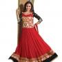 Lara dutta red embroidered anarkali salwar kameez(bridelara7007)