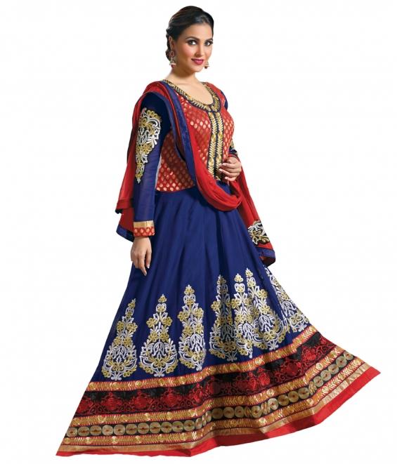 Lara dutta blue embroidered anarkali salwar kameez(bridelara7001)