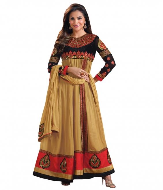 Lara dutta beige embroidered anarkali salwar kameez(bridelara7006)