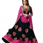 Lara dutta black embroidered anarkali salwar kameez(bridelara7004)