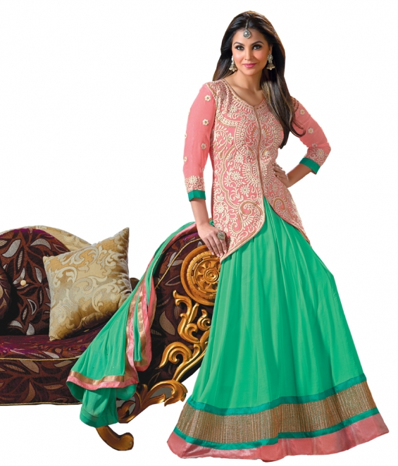 Lara dutta pink & green embroidered anarkali salwar kameez(bridelara7003)