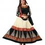 Lara dutta cream & black embroidered anarkali salwar kameez(bridelara7002)