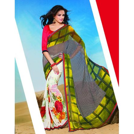 Kesariya red white & green colored designer printed saree