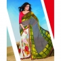 Kesariya Red White & Green Colored Designer Printed Saree