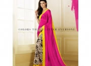 Silk Rought Pink & Yellow Colored Georgette Printed Saree