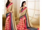 Silk Rought Tan & Sweet Pink Colored Georgette Printed Saree