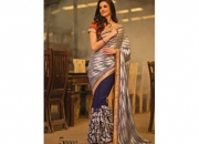 Kalpana navy blue & silver gray colored designer printed saree