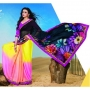 Kesariya Black Pink & Yellow Colored Designer Printed Saree