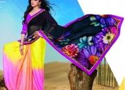 Kesariya Black Pink & Yellow Colored Designer Printed Saree