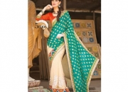 Kalpana Persian Green & Off White Colored Designer Printed Saree