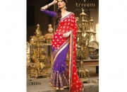 Kalpana Red & Purple Colored Designer Printed Saree