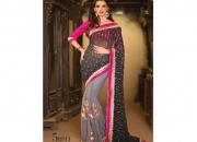 Kalpana Black Gray & Pink Colored Designer Printed Saree