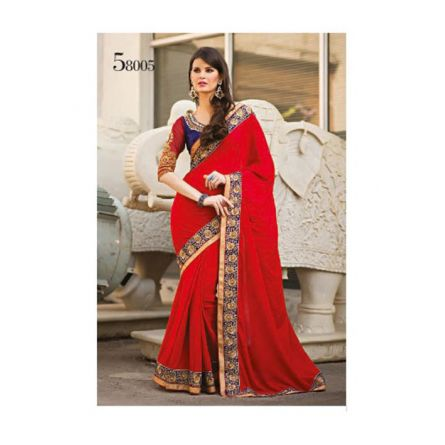 Kalpana red & blue colored designer printed saree