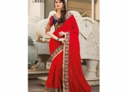 Kalpana Red & Blue Colored Designer Printed Saree