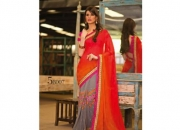 Kalpana Red & Gray Colored Designer Printed Saree