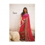 Kalpana Red & Rani Colored Designer Printed Saree