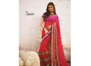 Kalpana Red & Rani Colored Designer Printed Saree