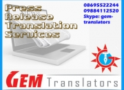 Press Release Translation Services in Mangalore  Chennai