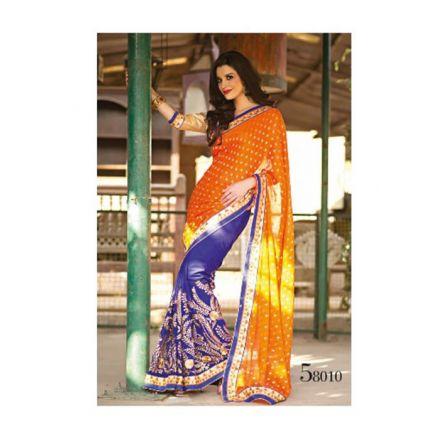 Kalpana orange & blue colored designer printed saree