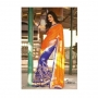 Kalpana Orange & Blue Colored Designer Printed Saree
