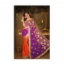 Kalpana Orange & Purple Colored Designer Printed Saree