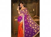Kalpana Orange & Purple Colored Designer Printed Saree