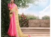 Royal Pink & Cream Colored Designer Saree