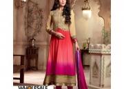 Fantasy Gold Sand Red & Pink Colored Georgette Designer Suit