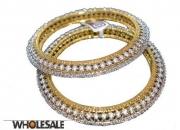 Golden Plated CZ Diamond Bangle - 2507