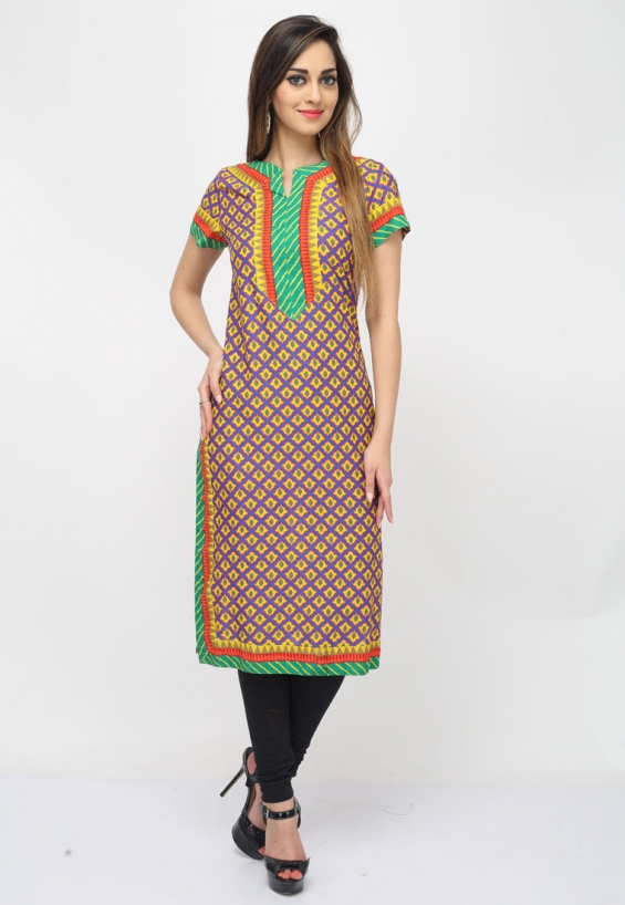 Appeal to your refine taste with this violet-yellow color cotton designer kurti which is adorned with intriguing prints and patched yoke and border.