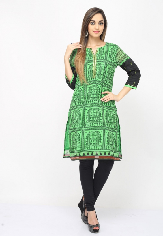 Flaunt a distinct ethnic look wearing this green-black color cotton designer kurti showcasing attractive tribal prints and sequined yoke and cuffs.